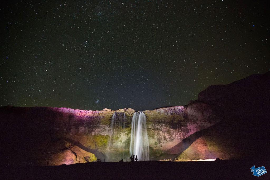 Seljalandsfoss Iceland lid up during darkest months