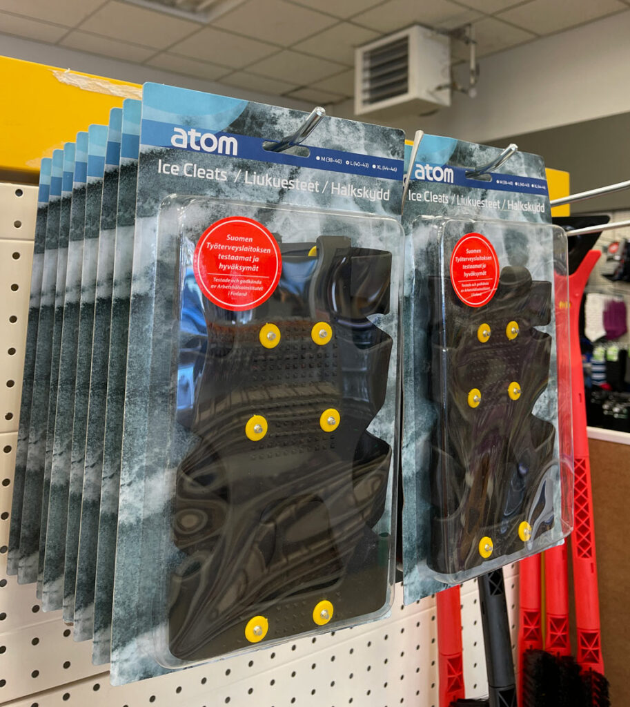 crampons in store in iceland