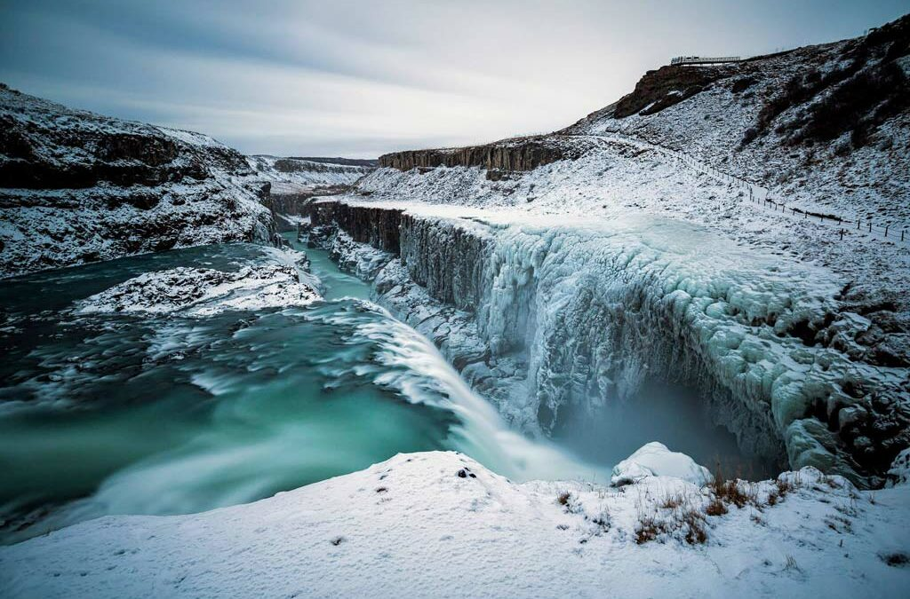 Gullfoss waterfall South Iceland in Golden Circle in winter